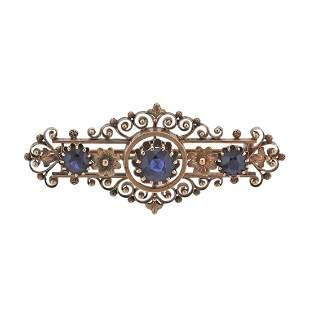 Antique 14k Gold Sapphire Brooch Pin