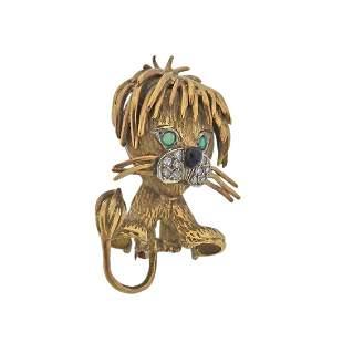 1960s 18k Gold Diamond Emerald Lion Brooch