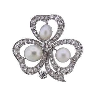 14k Gold Diamond Pearl Clover Brooch