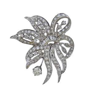 Mid Century 14k Gold Diamond Brooch Pendant