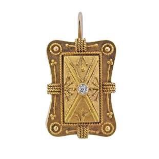 Antique Victorian 14k Gold Diamond Pendant