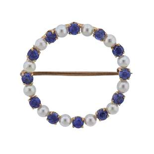 Antique 14k Gold Sapphire Pearl Circle Brooch