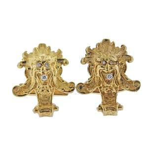 14k Gold Diamond Aztec Cufflinks