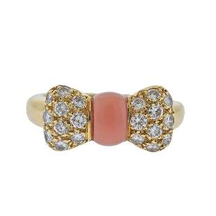 Van Cleef & Arpels Diamond Coral Bow Gold RIng