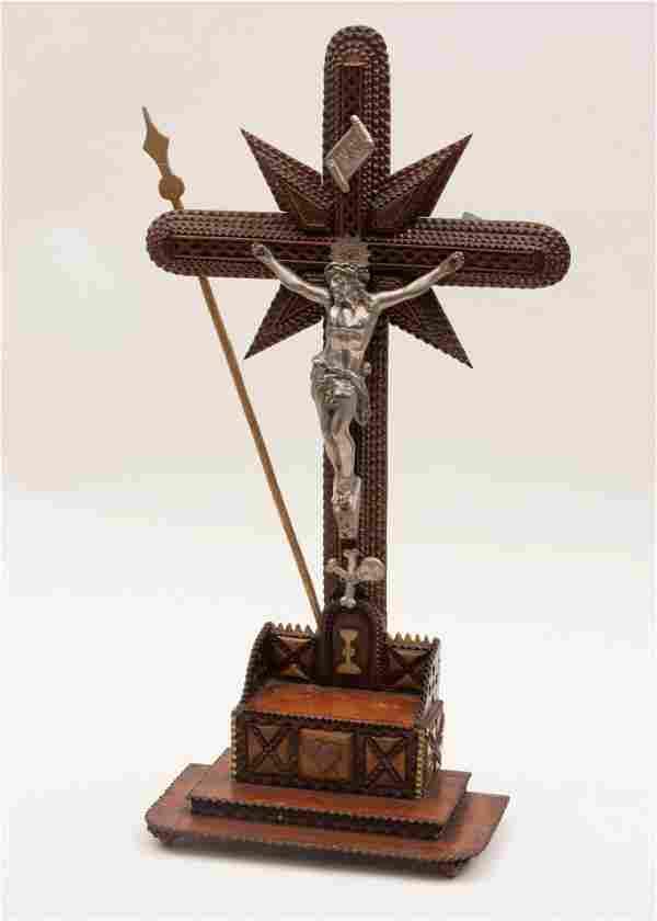 Antique Tramp Art Crucifix Height: 21 inches