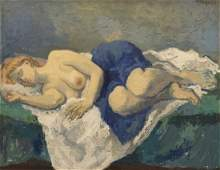 Moses Sawyer New York (1899-1974) Model Sleeping, oil