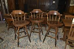 Three Pieces: Oak Pedestal Pub Table And A Pair Of