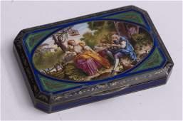A Fine Antique French Enamel on Silver Box 2 12 x 3