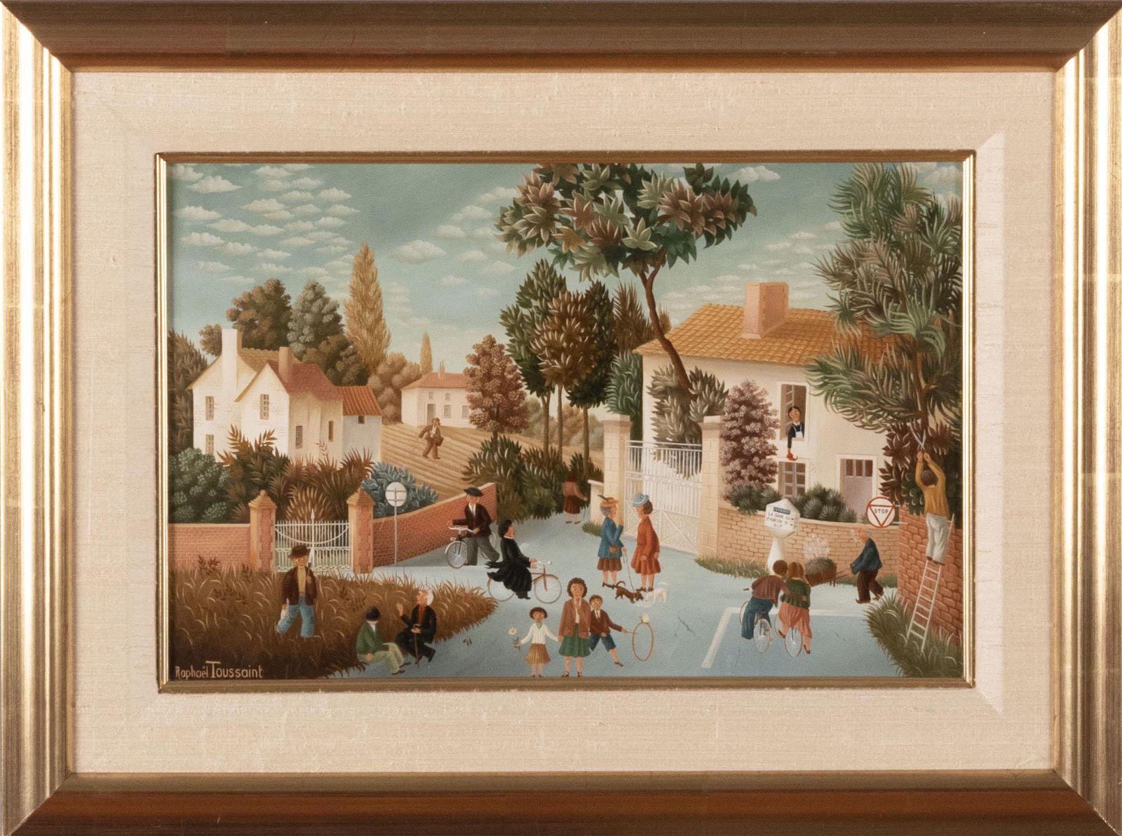 Raphael Toussaint, French (b. 1937), Village Scene with