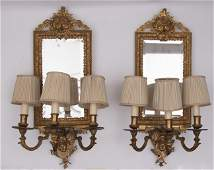 """Pair of Gilt Bronze 3 Arm Mirrored Sconces 24"""" in"""