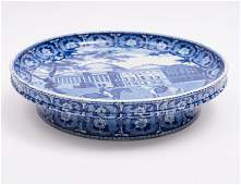 19th Century Staffordshire Flow Blue Historical Footed
