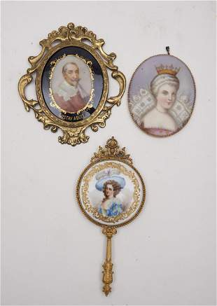 2 Continental Porcelain Plaques, a Small Hand Mirror (3
