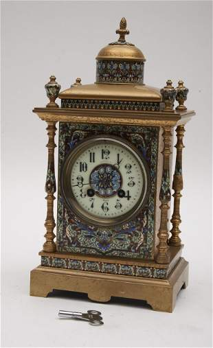 """French Gilt Metal and Champleve Enamel Clock 14"""" Tall"""
