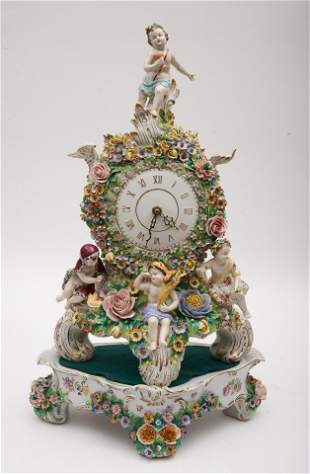 """A Sitzendorf Porcelain Mantel Clock with Stand 23"""" Tall"""
