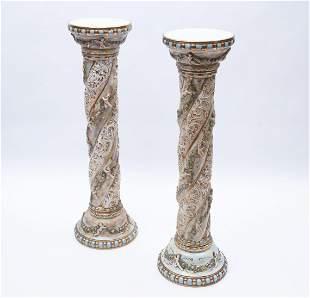 "A Pair of Italian Capodimonte Pedestals 38"" Tall"