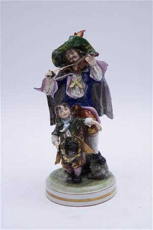 Large German Porcelain Figural Group, Fiddler with