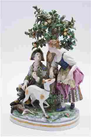 """A Large Continental Porcelain Figure Group 13"""" Tall"""