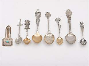 7 Sterling Silver Souvenir Spoons, a Sterling Native