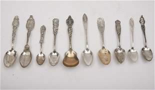 10 Sterling Silver Souvenir Spoons, George Washington