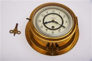 English Brass Ship's Clock with Key Diameter: 9 inches