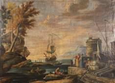 , Italian 18th century, Mediterranean Coastal Scene