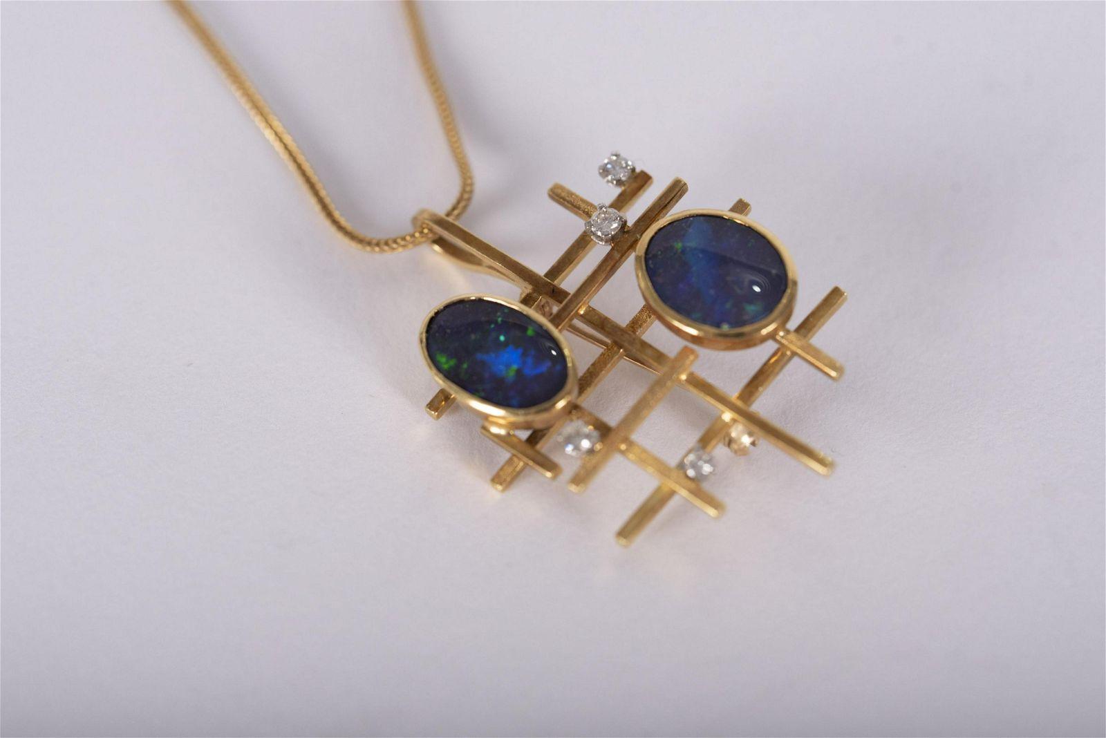 Modernist Design Fire Opal and Diamond Pendant