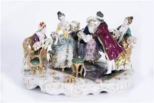 A Large Rudolstadt Porcelain Figural Group, Blind Man's