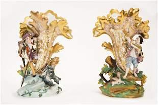Unusual Pair of Porcelain Old Paris Vases with Figural