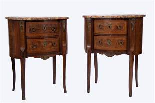 Pair Of French Kidney Form Nightstands 30 x 24 x 16