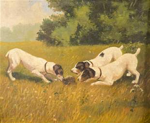 , Early 20th century, Three Dogs and a Hedgehog, oil on