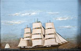 Two Folk Art Ship Dioramas of Clipper Ships, First Half