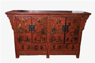 Antique Chinese Red Lacquer Chest Height 33 inches,
