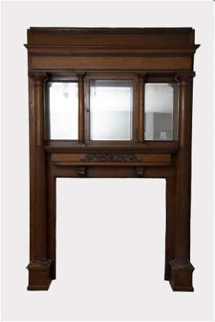 Antique American Oak Fireplace Mantle