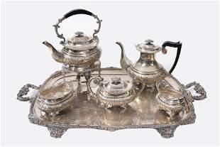 A 6 Piece English Silver Plate Tea Set