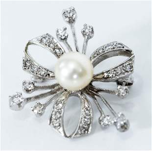 14kt White Gold Diamond and Pearl Brooch