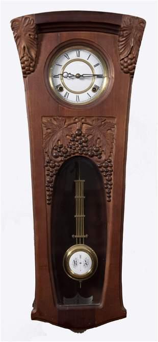 German Art Nouveau Carved Wood Wall Clock Length: 29
