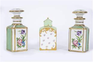 Pair of French Porcelain Scent Bottles With a Porcelain