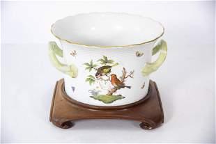 A Herend Porcelain Jardiniere, Rothschild Bird Pattern