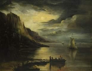 British School 19th Century, Moonlit Coast, oil on