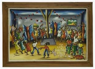 T. Robinson, Haiti 20th century, Festival Scene, oil on