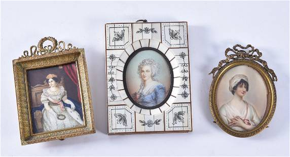 Three 19th Century Framed Continental Portrait
