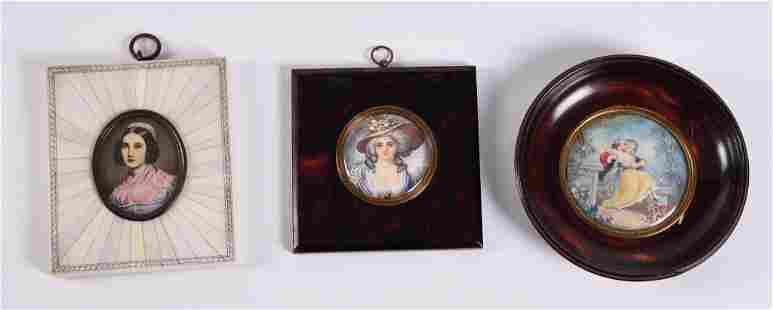 Three Antique Portrait Miniatures, Female Portraits and