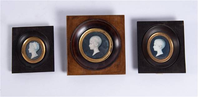 Three Antique Portrait Miniatures, Children's Profiles