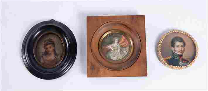 Three Antique Portrait Miniatures, Painted on Tin or