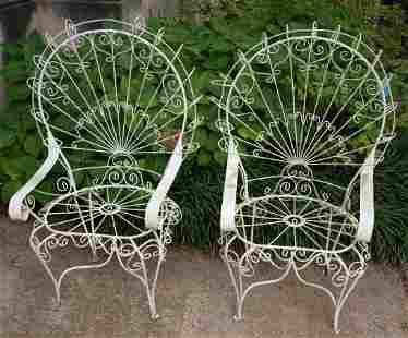 Set of Four Salterini White Twisted Wrought Iron