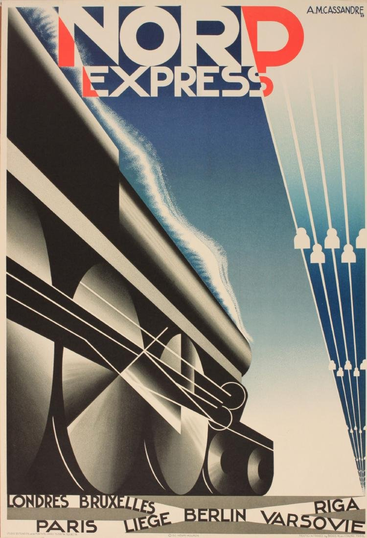A M Cassandre Nord Express, Studio Editions lithograph