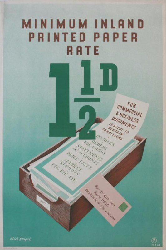 Alick Knight Minimum Inland Printed Paper Rate 1 1/2D,