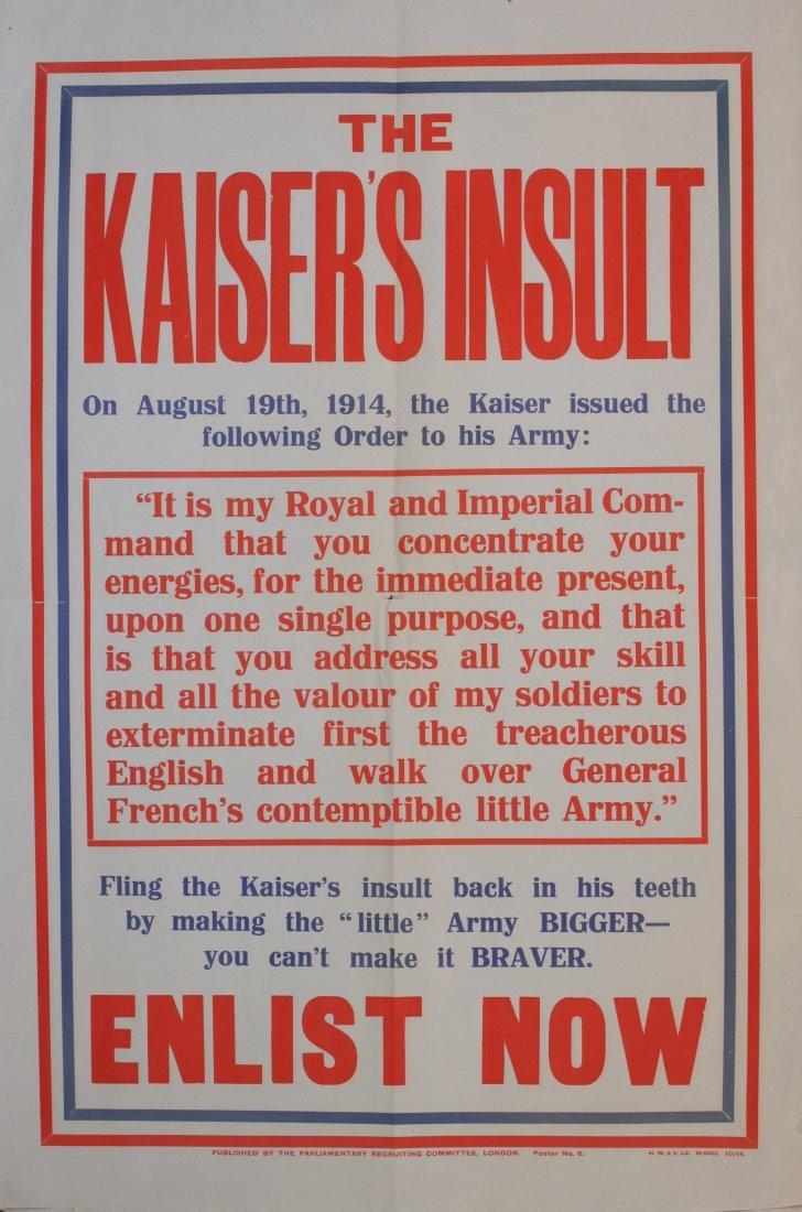 The Kaiser's Insult, PRC No 6, original poster printed