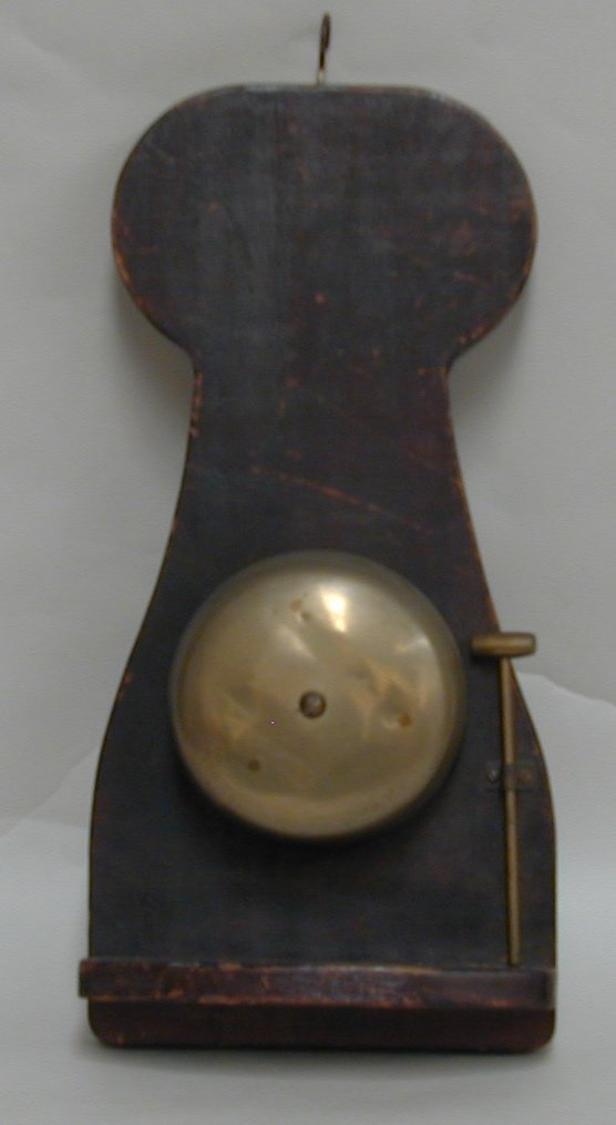 2A: A brass Mess bell, mounted on shaped wood panel wit