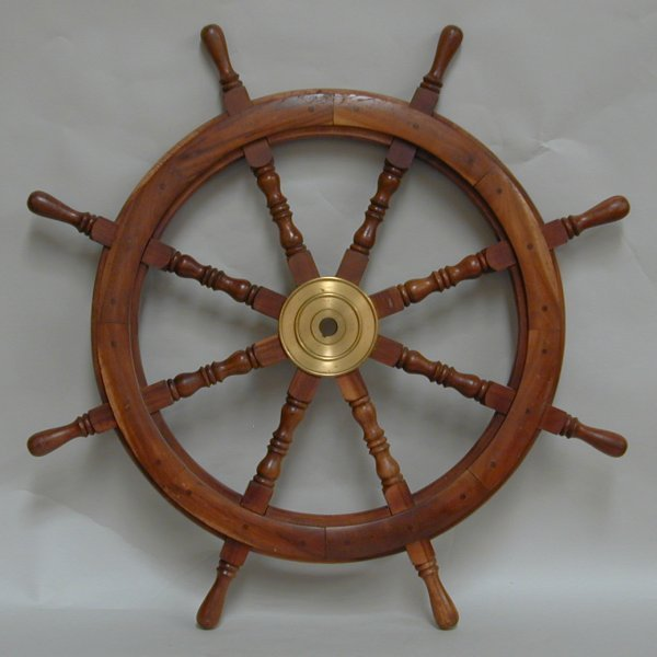 14A: Ships/Yacht wheel, teak with brass central boss -